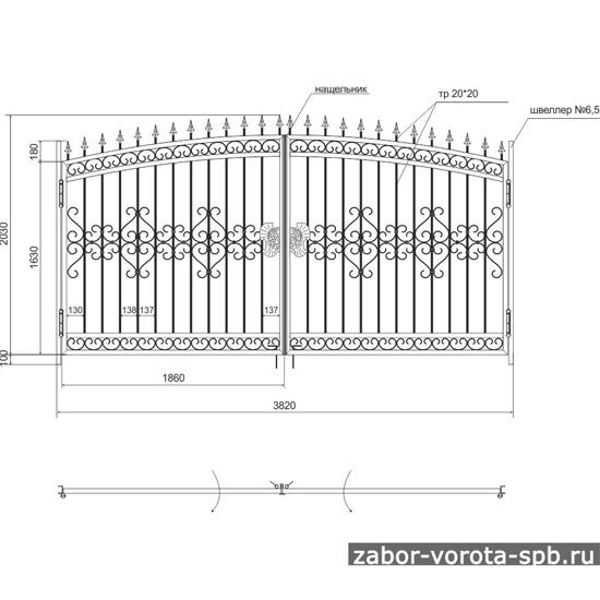 Кованые откатные ворота чертежи схемы эскизы конструкция